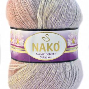 Fir de tricotat sau crosetat - Fire tip mohair acril NAKO MOHAIR DELICATE COLORFLOW DEGRADE 28098