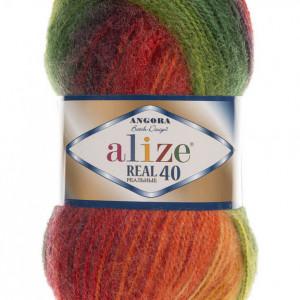 Fir de tricotat sau crosetat - Fire tip mohair din acril Alize Angora Real 40 Batik degrade 4895