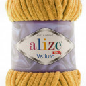 Fir de tricotat sau crosetat - Fire tip mohair din acril ALIZE VELLUTO MUSTAR 02