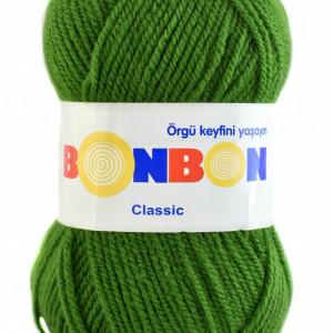 Fir de tricotat sau crosetat - Fire tip mohair din acril BONBON CLASIC VERDE 98235