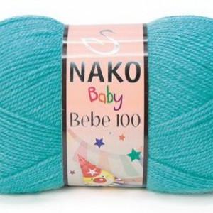Fir de tricotat sau crosetat - Fire tip mohair din acril Nako Baby turcoaz 3377