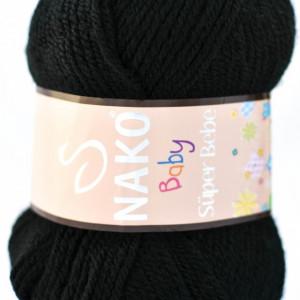 Fir de tricotat sau crosetat - Fire tip mohair din acril Nako SUPER BEBE NEGRU 217