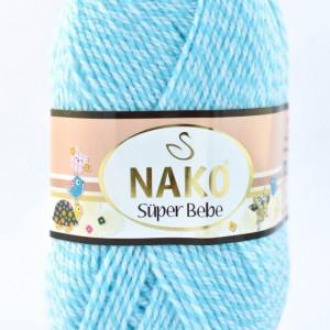 Fir de tricotat sau crosetat - Fire tip mohair din acril Nako SUPER BEBE ALBASTRU 21292