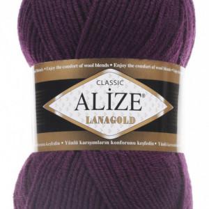 Fir de tricotat sau crosetat - Fire tip mohair din lana 49% si acril 51% Alize Lanagold Mov 111