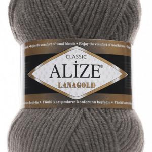Fir de tricotat sau crosetat - Fire tip mohair din lana 49% si acril 51% Alize Lanagold Gri 348