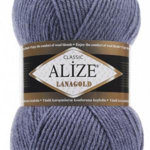 Fir de tricotat sau crosetat - Fire tip mohair din lana 49% si acril 51% Alize Lanagold Albastru 203