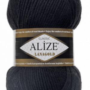 Fir de tricotat sau crosetat - Fire tip mohair din lana 49% si acril 51% Alize Lanagold Negru 60
