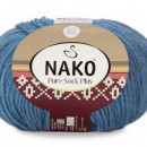 Fir de tricotat sau crosetat - Fire tip mohair din lana si polyamida Nako PURE SOCK PLUS ALBASTRU 1986