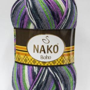 Fir de tricotat sau crosetat - Fire tip mohair din lana si polyamida Nako BOHO mix 81265