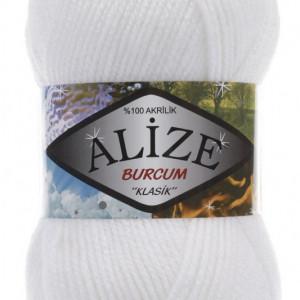 Fir de tricotat sau crosetat - Fir ACRILIC ALIZE BURCUM KLASIK ALB 55