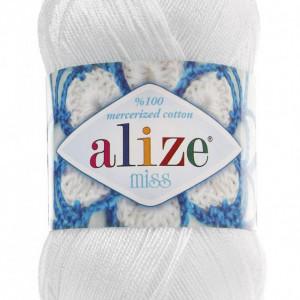 Fir de tricotat sau crosetat - Fir BUMBAC 100% ALIZE MISS ALB 55