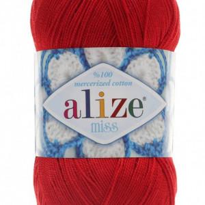 Fir de tricotat sau crosetat - Fir BUMBAC 100% ALIZE MISS ROSU 56