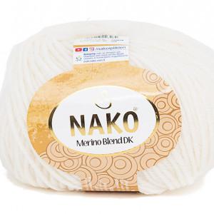 Fir de tricotat sau crosetat - Fire din lana 100% Nako Merino Blend DK - ALB COD 208