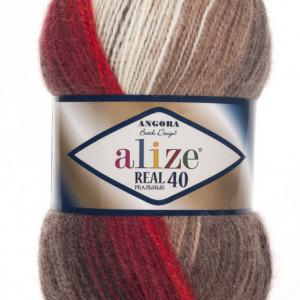 Fir de tricotat sau crosetat - Fire tip mohair din acril Alize Angora Real 40 Batik degrade 4574