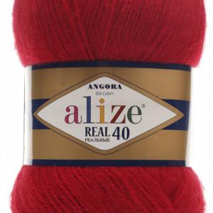 Fir de tricotat sau crosetat - Fire tip mohair din acril Alize Angora Real 40 Rosu 56