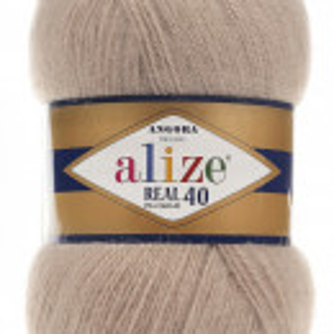 Fir de tricotat sau crosetat - Fire tip mohair din acril Alize Angora Real 40 Bej 05