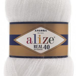 Fir de tricotat sau crosetat - Fire tip mohair din acril Alize Angora Real 40 Alb 55