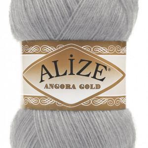 Fir de tricotat sau crosetat - Fire tip mohair din acril Alize Angora Gold Gri 21