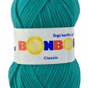 Fir de tricotat sau crosetat - Fire tip mohair din acril BONBON CLASIC TURQUAZ 98394