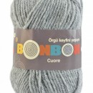 Fir de tricotat sau crosetat - Fire tip mohair din acril BONBON CUORE - GRI - 98233