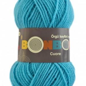 Fir de tricotat sau crosetat - Fire tip mohair din acril BONBON CUORE - TURCOAZ - 98238
