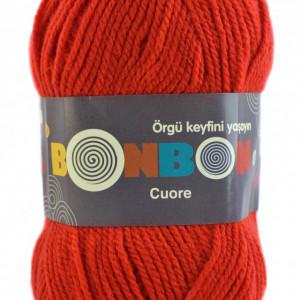 Fir de tricotat sau crosetat - Fire tip mohair din acril BONBON CUORE - ROSU - 98619