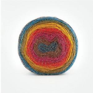 Fir de tricotat sau crosetat - Fire tip mohair din acril Kamgarn Papatya CAKE SILVER degrade 304