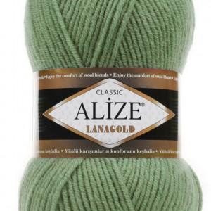 Fir de tricotat sau crosetat - Fire tip mohair din lana 49% si acril 51% Alize Lanagold Verde 180