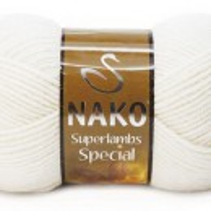 Fir de tricotat sau crosetat - Fire tip mohair din lana 50% si acril 50% Nako Superlambs Special alb 208