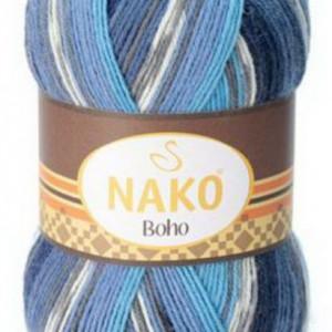 Fir de tricotat sau crosetat - Fire tip mohair din lana si polyamida Nako BOHO mix 81262