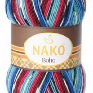 Fir de tricotat sau crosetat - Fire tip mohair din lana si polyamida Nako BOHO mix 81254