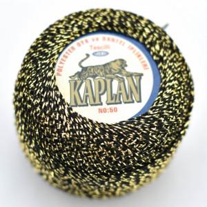 Fir de crosetat polyester + lurex KAPLAN NEGRU + AURIU