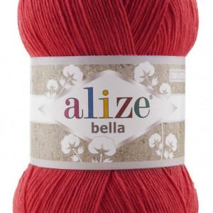 Fir de tricotat sau crosetat - Fir BUMBAC 100% ALIZE BELLA 100 - ROSU 56