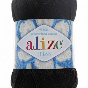 Fir de tricotat sau crosetat - Fir BUMBAC 100% ALIZE MISS NEGRU 60