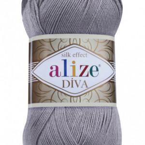 Fir de tricotat sau crosetat - Fir microfibra ALIZE DIVA GRI 348