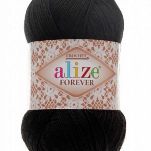 Fir de tricotat sau crosetat - Fir microfibra ALIZE FOREVER NEGRU 60