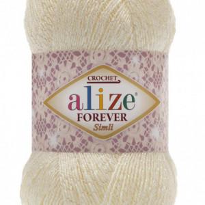 Fir de tricotat sau crosetat - Fir microfibra ALIZE FOREVER SIMLI CREAM 01
