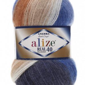 Fir de tricotat sau crosetat - Fire tip mohair din acril Alize Angora Real 40 Batik degrade 6561