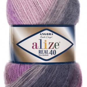 Fir de tricotat sau crosetat - Fire tip mohair din acril Alize Angora Real 40 Batik degrade 4760