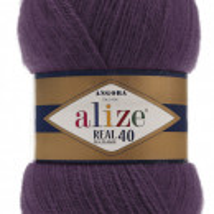 Fir de tricotat sau crosetat - Fire tip mohair din acril Alize Angora Real 40 Mov 111