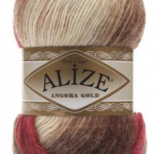 Fir de tricotat sau crosetat - Fire tip mohair din acril Alize Angora Gold Batik degrade 4574