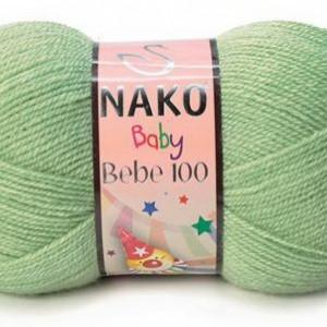 Fir de tricotat sau crosetat - Fire tip mohair din acril Nako Baby 100 VERDE 10262