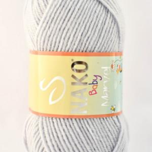 Fir de tricotat sau crosetat - Fire tip mohair din acril Nako Baby MARVEL GRI 10020