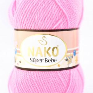Fir de tricotat sau crosetat - Fire tip mohair din acril Nako SUPER BEBE ROZ 11158