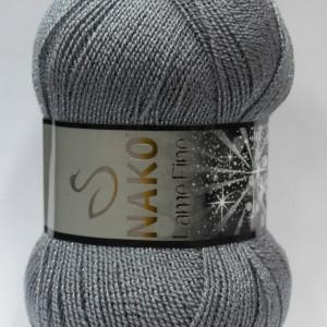 Fir de tricotat sau crosetat - Fire tip mohair din acril si poliester metalic NAKO LAME FINE GRI 4192KG