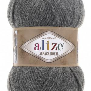 Fir de tricotat sau crosetat - Fire tip mohair din alpaca 30%, lana 15%, acril 55% Alize Alpaca Royal GRI 196