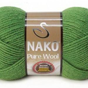 Fir de tricotat sau crosetat - Fire tip mohair din lana 100% Nako PURE WOOL VERDE 5300
