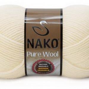 Fir de tricotat sau crosetat - Fire tip mohair din lana 100% Nako PURE WOOL CREAM 2378