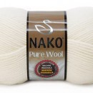 Fir de tricotat sau crosetat - Fire tip mohair din lana 100% Nako PURE WOOL ALB 208