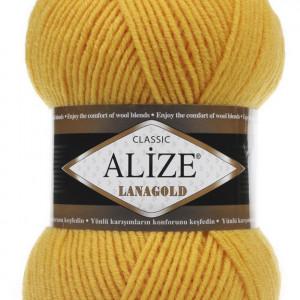 Fir de tricotat sau crosetat - Fire tip mohair din lana 49% si acril 51% Alize Lanagold Galben 216
